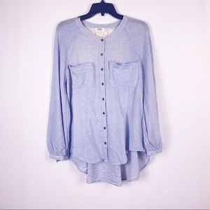 Umgee striped lace detail back button front shirt